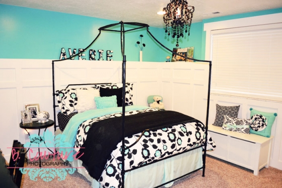 1106 AVERIES BEDROOM 0021 TURQUOISE AND BLACK GIRLS BEDROOM {WEDNESDAY DESIGN INSPIRATION}